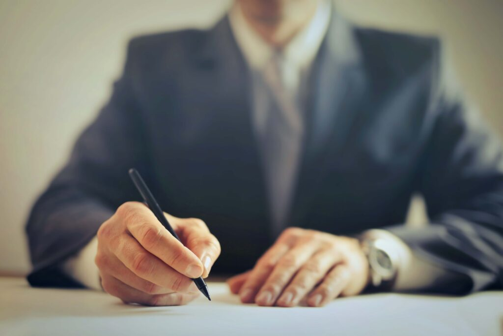 Lawyer drafting a last will and testament